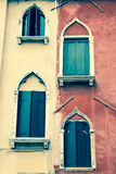 Traditional window of typical old Venice building Stock Images