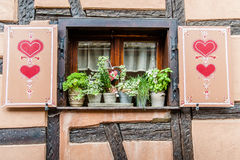 Traditional Windows in Alsace, France Stock Photo