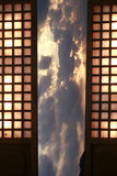 Traditional Windows in Dramatic Sunset Stock Photography