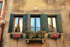 Traditional windows of typical old Venice building ,Italy. Stock Photo