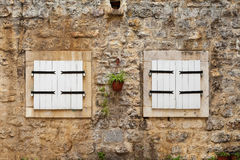 Traditional windows with white shutters, Montenegro, Royalty Free Stock Images