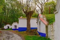 Traditional Wine Cellars - Plze, Petrov, Czech Republic, Europe. Wine lore and folklore. Moravian wine cellars Stock Photo