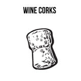 Traditional wine or champagne cork, sketch style  vector illustration Royalty Free Stock Images
