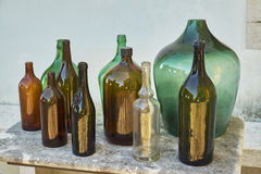 Traditional wine and liquor bottles. In Istria, Croatia Royalty Free Stock Photography