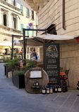 Traditional wine shop on the street of the historic center of Mo stock photo