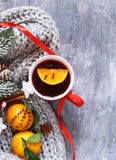 Traditional winter beverage mulled wine. Christmas drink. Royalty Free Stock Photos