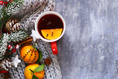 Traditional winter beverage mulled wine. Christmas drink. Stock Photos