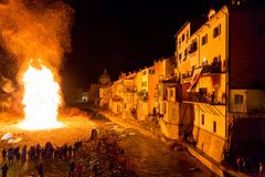 Traditional winter bonfire in Pontremoli, Italy stock photography