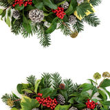 Traditional Winter Floral Border Stock Photography