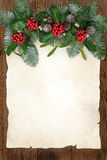 Traditional Winter Greenery Border Stock Photo