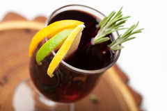 Traditional winter hot alcohol drinks mulled wine with orange, s Stock Image