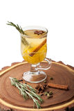 Traditional winter hot alcohol drinks mulled wine with orange, s Stock Photo