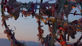 Traditional wish tree, tourist attraction, dreams come true, hopes for future. Stock footage stock video footage