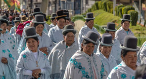 Traditional Women Cholitas in Typical Clothes during 1st of May Labor Day Parade - La Paz, Bolivia Royalty Free Stock Images