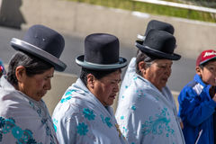 Traditional Women Cholitas in Typical Clothes during 1st of May Labor Day Parade - La Paz, Bolivia Stock Images
