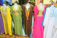 Traditional women`s clothing in Morocco Stock Photos