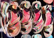 Traditional women's shoes in the local market in India Royalty Free Stock Photo