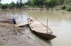 Traditional Wood Boat transportation Stock Photo