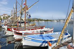 Port of Sanary-sur-Mer in France stock photo