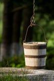 Traditional wood bucket. Traditional well with wood bucket Stock Photography