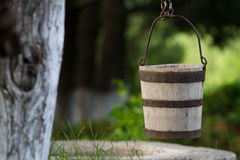 Traditional wood bucket Stock Image