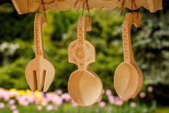 Traditional wood carvings from Romania. Displayed in  an outdoor fair Royalty Free Stock Images