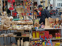 Traditional wood craft for sale Market Day. Market Day at Dolac,  Zagreb Croatia Stock Photography
