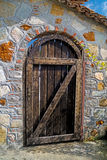 Traditional wood door in Greek islands Stock Photo