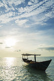 Traditional wood ferry sea taxi boats in koh rong island cambodi Royalty Free Stock Photography