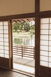 Japanese wood-framed sliding door Stock Photos