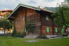 An Old Fashioned Wood House in Kaprun, Austria royalty free stock image