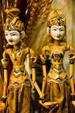 Traditional wood puppet of king and queen with rich ornaments and jewelleries stock photo