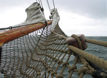 Traditional wood sailboat Stock Photo