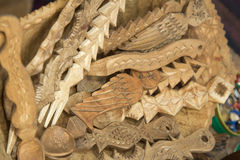 Traditional wood sculpted objects Stock Photo