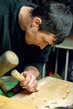 Traditional wood worker in Romania , carpenter stock image