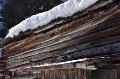 Traditional wooden alpine architecture detail in winter Stock Photography