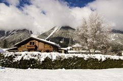 Traditional wooden alpine chalet Royalty Free Stock Photos