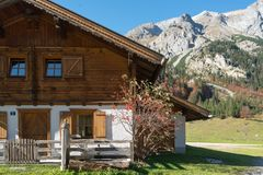 Traditional wooden alpine houses royalty free stock photos
