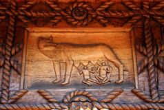 Traditional wooden basrelief Stock Photo