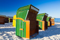 Traditional wooden beach chairs on Rugen island,Germany Royalty Free Stock Photography