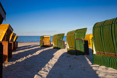 Traditional wooden beach chairs on Rugen island,Germany Stock Photo