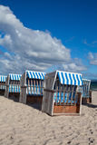 Traditional wooden beach chairs on Rugen island,Germany Stock Photography