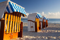 Traditional wooden beach chairs on Rugen island,Germany Royalty Free Stock Image