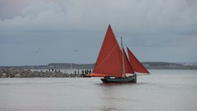 Traditional wooden boat Galway Hooker, leaving docks stock video