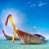 Traditional Wooden Boat In Thailand Near Phuket Island Royalty Free Stock Photos