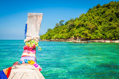 Traditional wooden boat in a picture on Koh Phi Phi Island, Thai Stock Images