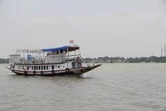 Traditional wooden boat in the Sundarbans national park, famous for tigers royalty free stock photos