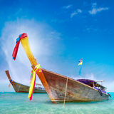 Traditional wooden boat in Thailand near Phuket island Royalty Free Stock Photos