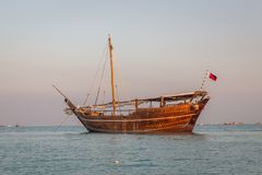 Katara beach Qatar traditional wooden boats dhow Stock Images