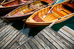Traditional wooden boats on Lake Bled, Slovenia. Stock Photography